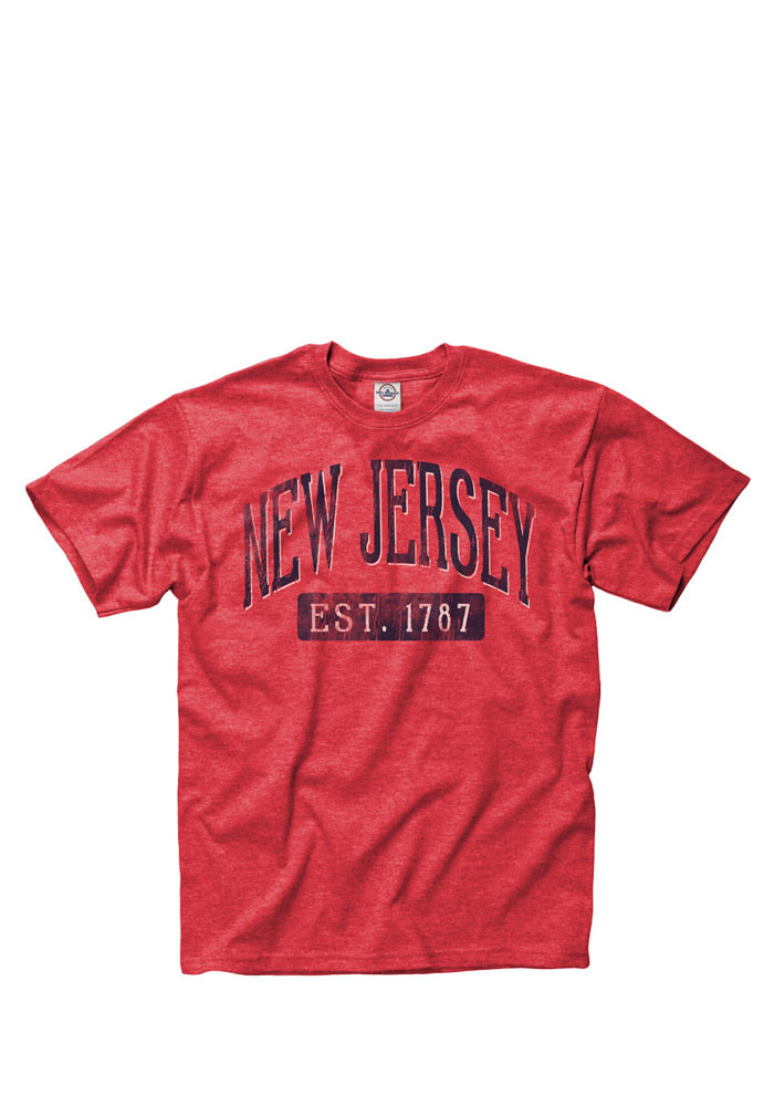 New Jersey Mens Red Establish Date Arch Short Sleeve T Shirt - Image 1