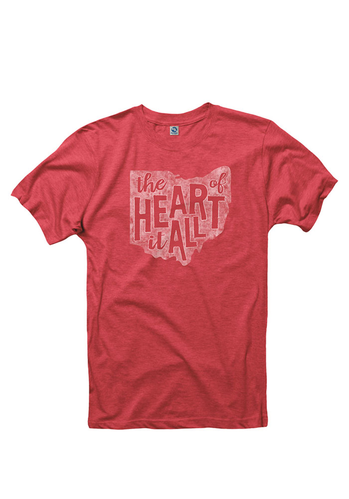 Ohio Red State Heart Of It All Short Sleeve T Shirt - Image 1