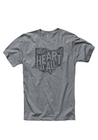 Ohio Grey State Heart Of It All Short Sleeve T Shirt