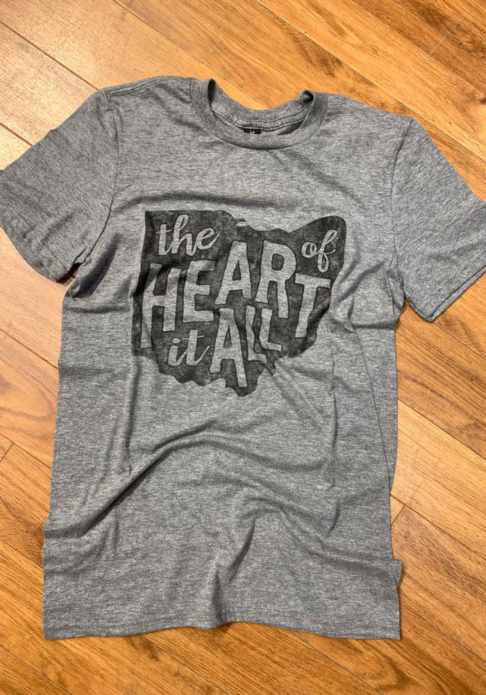 Ohio Grey State Heart Of It All Short Sleeve T Shirt - Image 2