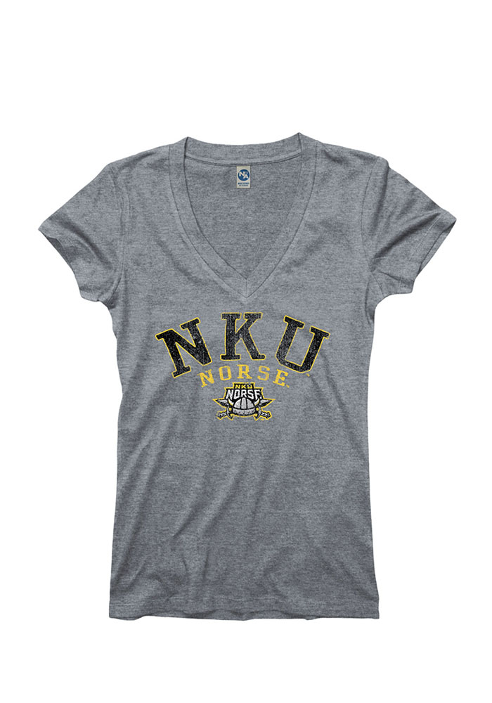 Northern Kentucky Norse Juniors Grey Varsity Ageless V-Neck T-Shirt - Image 1