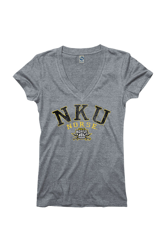 Northern Kentucky Norse Womens Grey Varsity Ageless V-Neck T-Shirt - Image 1