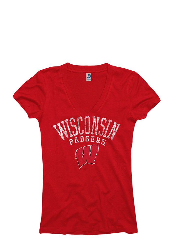 Wisconsin Badgers Juniors Red Ageless V-Neck T-Shirt - Image 1
