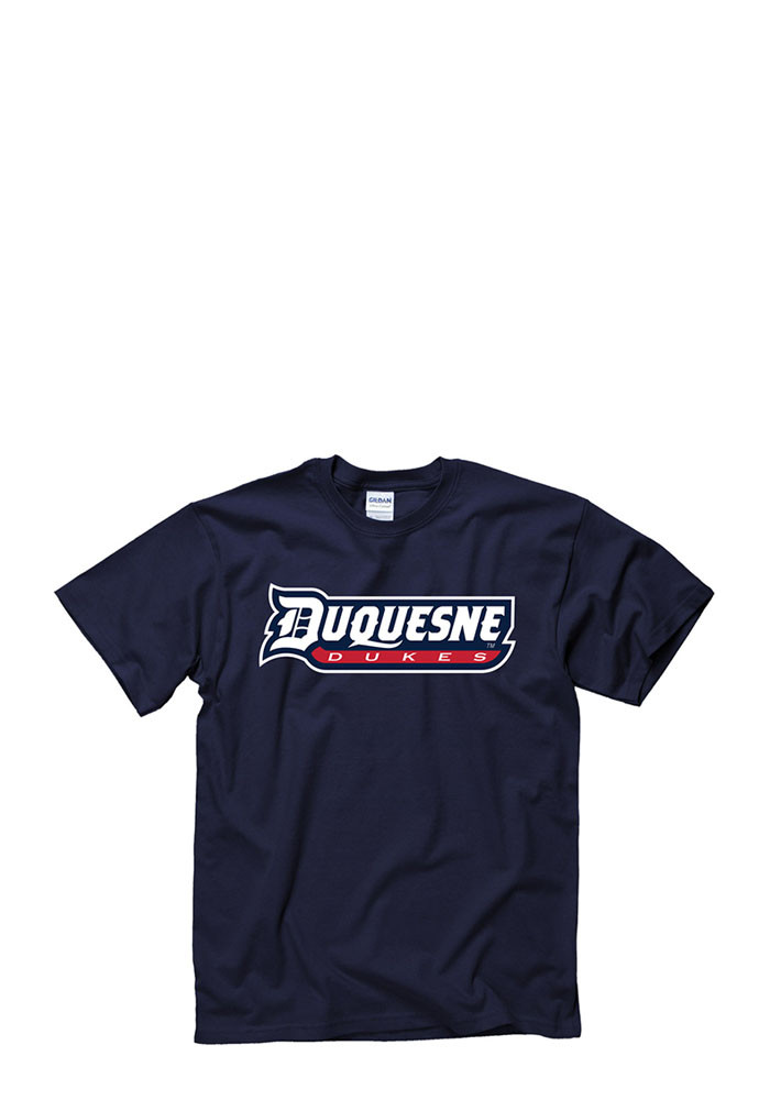 Duquesne Dukes Mens Navy Blue Rally Loud Short Sleeve T Shirt - Image 1