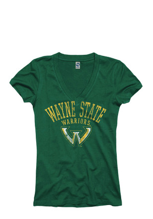 Wayne State Warriors Womens Green Varsity Ageless V-Neck