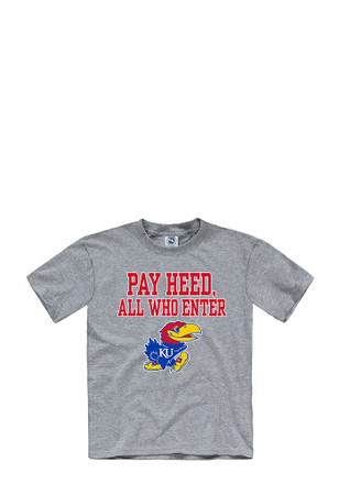 Kansas Jayhawks Kids Grey Pay Heed T-Shirt