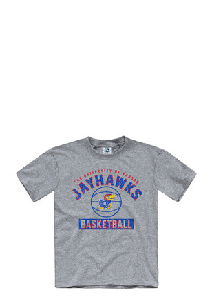 Kansas Jayhawks Kids Grey Basketball T-Shirt