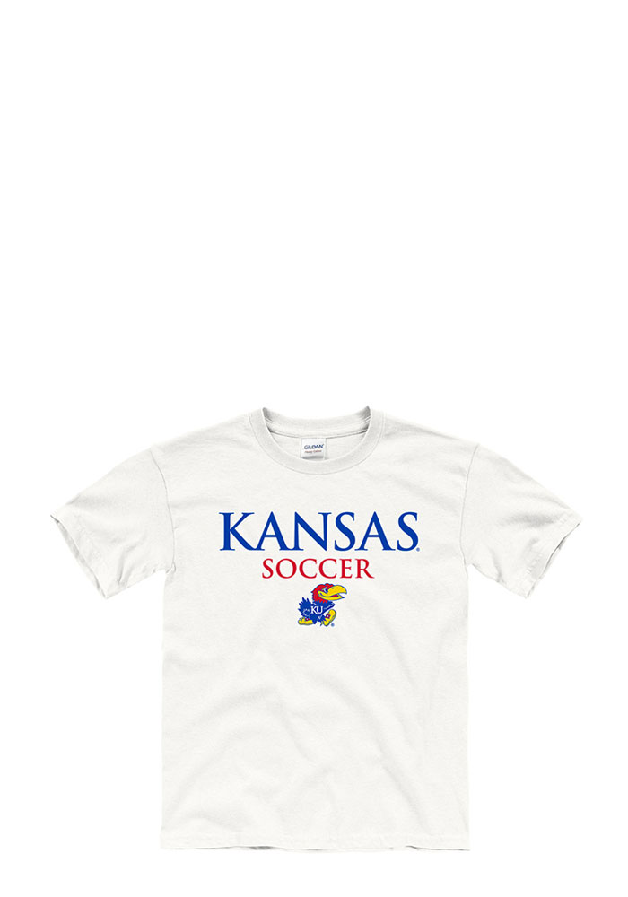 Kansas Jayhawks Youth White Worn Out Short Sleeve T-Shirt - Image 1