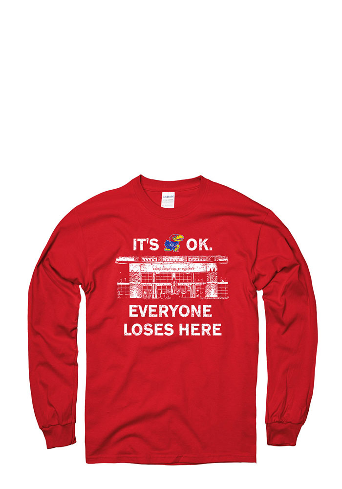 Kansas Jayhawks Red Home Base Long Sleeve T Shirt - Image 1