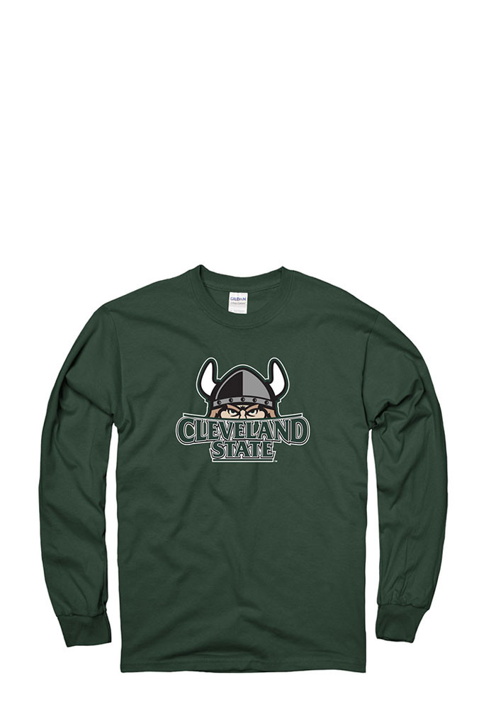 Cleveland State Vikings Mens Green LS Tee Long Sleeve T Shirt - Image 1