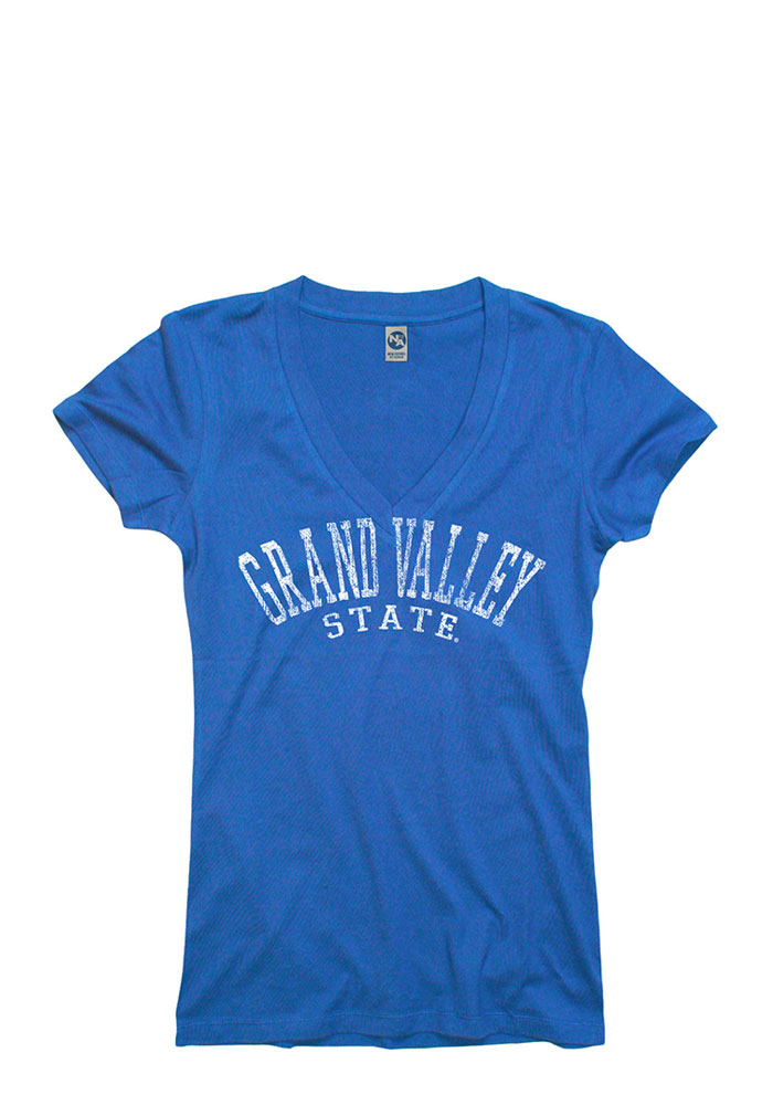 Grand Valley State Lakers Juniors Blue Varsity Ageless V-Neck T-Shirt - Image 1