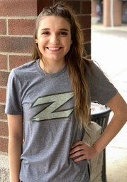Akron Zips Grey Fade Out Short Sleeve T Shirt
