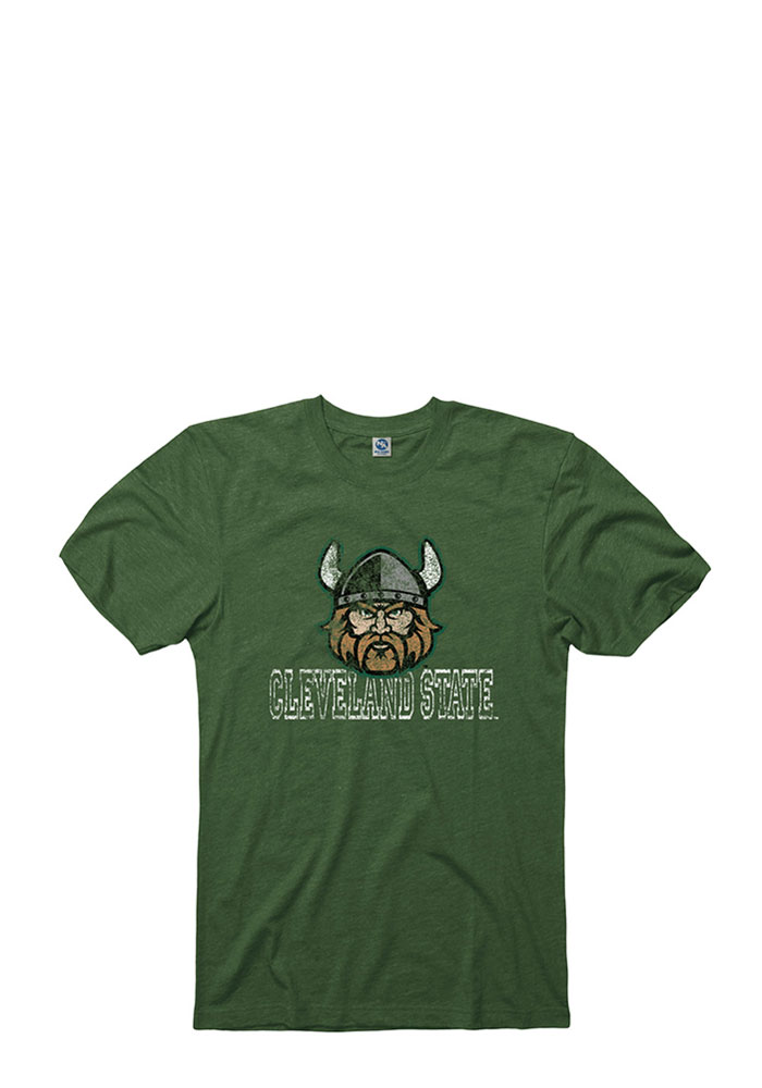 Cleveland State Vikings Mens Green Hollow Short Sleeve T Shirt - Image 1