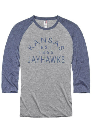 KU Jayhawks Mens Grey Baseball Raglan Fashion Tee