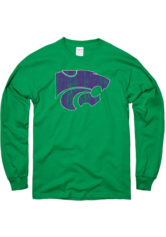 K-State Wildcats Green Splatter Rock Long Sleeve T Shirt - Image 1
