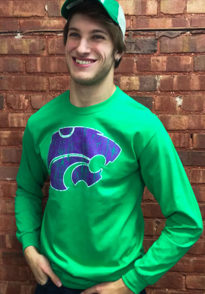 K-State Wildcats Green Splatter Rock Long Sleeve T Shirt - Image 2