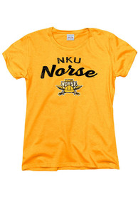 Northern Kentucky Norse Womens Gold Worn Script T-Shirt