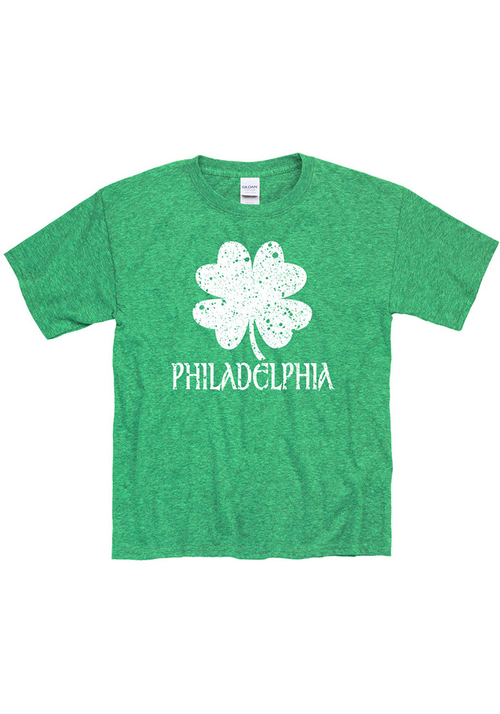 Philadelphia Youth Green Splatter Shamrock Short Sleeve T Shirt - Image 1