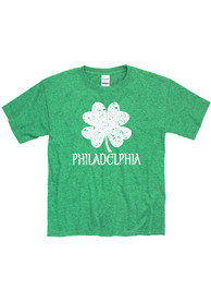 Philadelphia Youth Green Splatter Shamrock Short Sleeve T Shirt