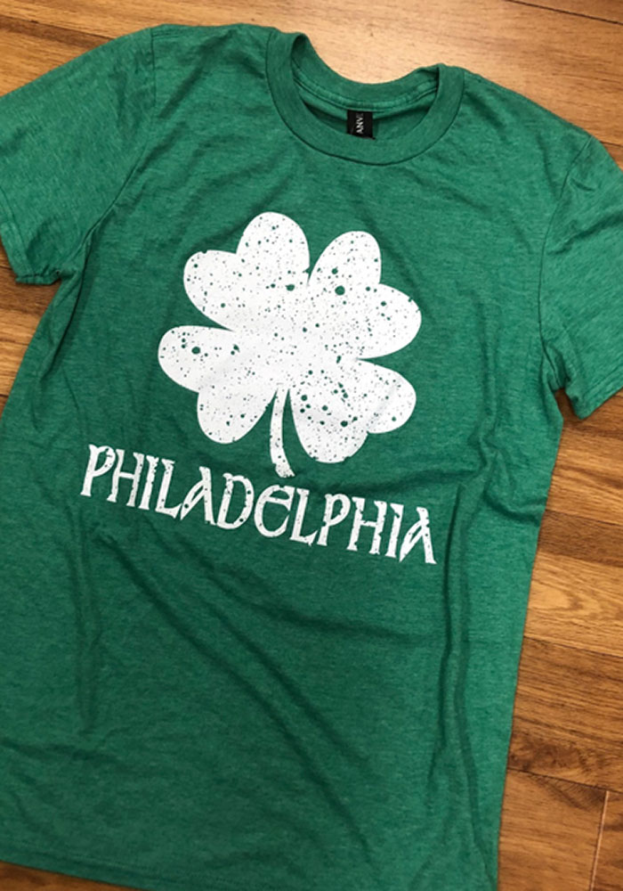 Philadelphia Youth Green Splatter Shamrock Short Sleeve T Shirt - Image 2