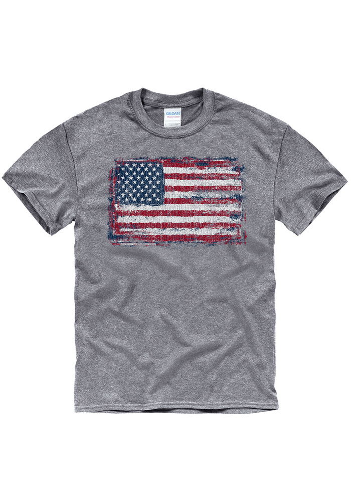 Team USA Grey Distressed American Flag Short Sleeve T Shirt - Image 1