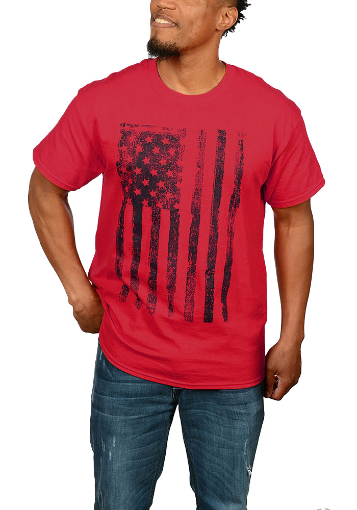 Team USA Mens Red Vertical Distressed American Flag Short Sleeve T Shirt - Image 1