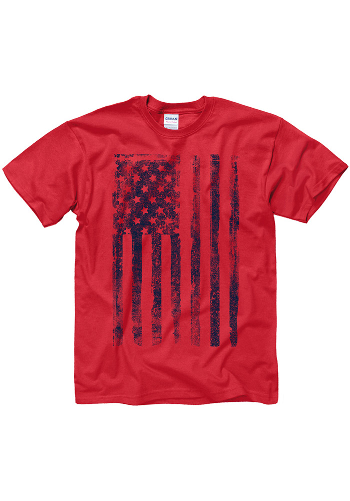 Team USA Mens Red Vertical Distressed American Flag Short Sleeve T Shirt - Image 2