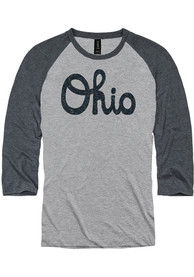 Ohio Grey Script Raglan Raglan ¾ Sleeve T Shirt