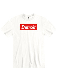 Detroit White Box Logo Short Sleeve T Shirt