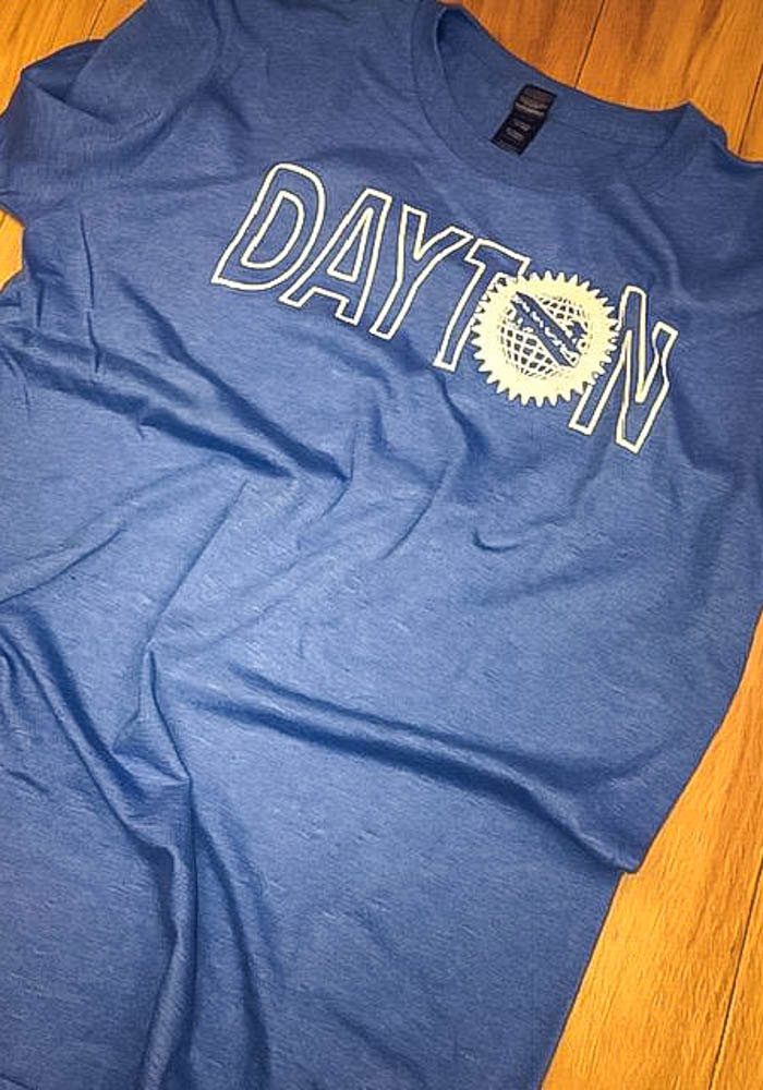 Dayton Blue Flag Wordmark Short Sleeve Fashion T Shirt - Image 2