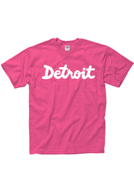 Detroit Pink Script Short Sleeve T Shirt