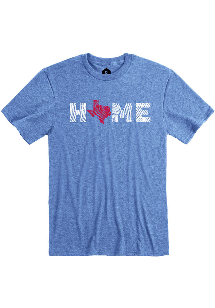 Texas Blue Home State Shape Short Sleeve T Shirt - Image 1