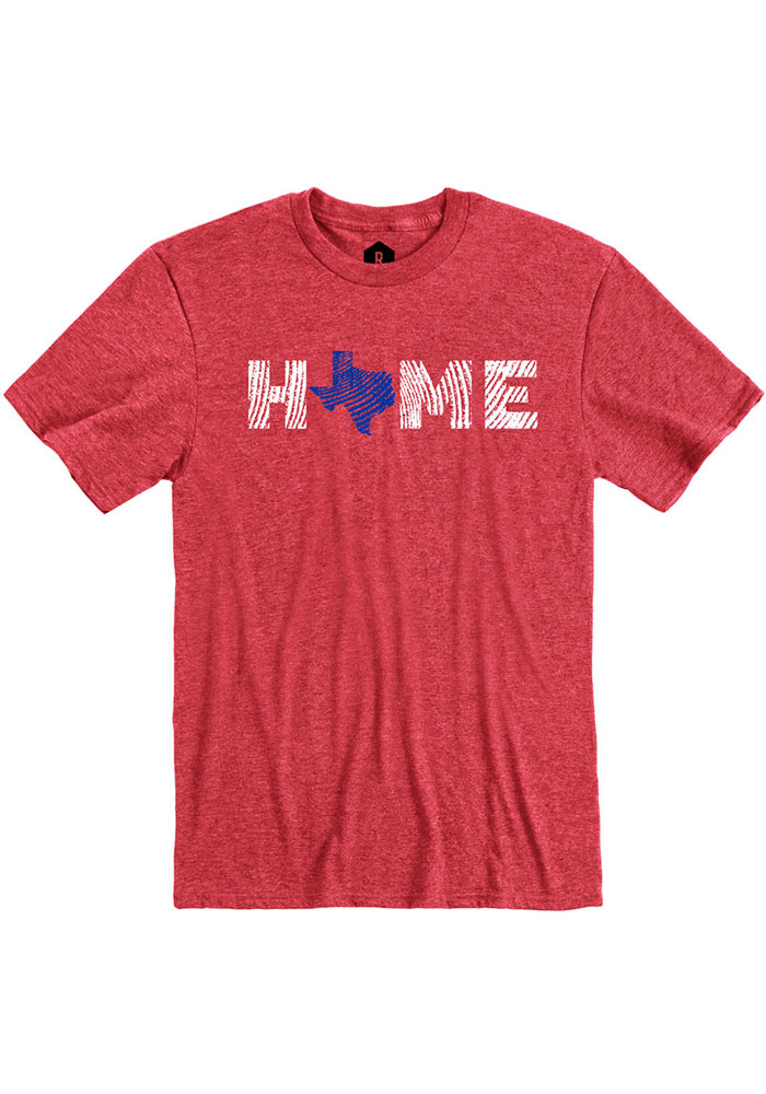 Texas Red Home State Shape Short Sleeve T Shirt - Image 1