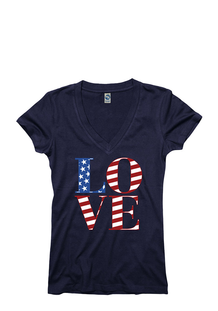 Team USA Womens Navy Blue Love Graphic V-Neck T-Shirt - Image 1