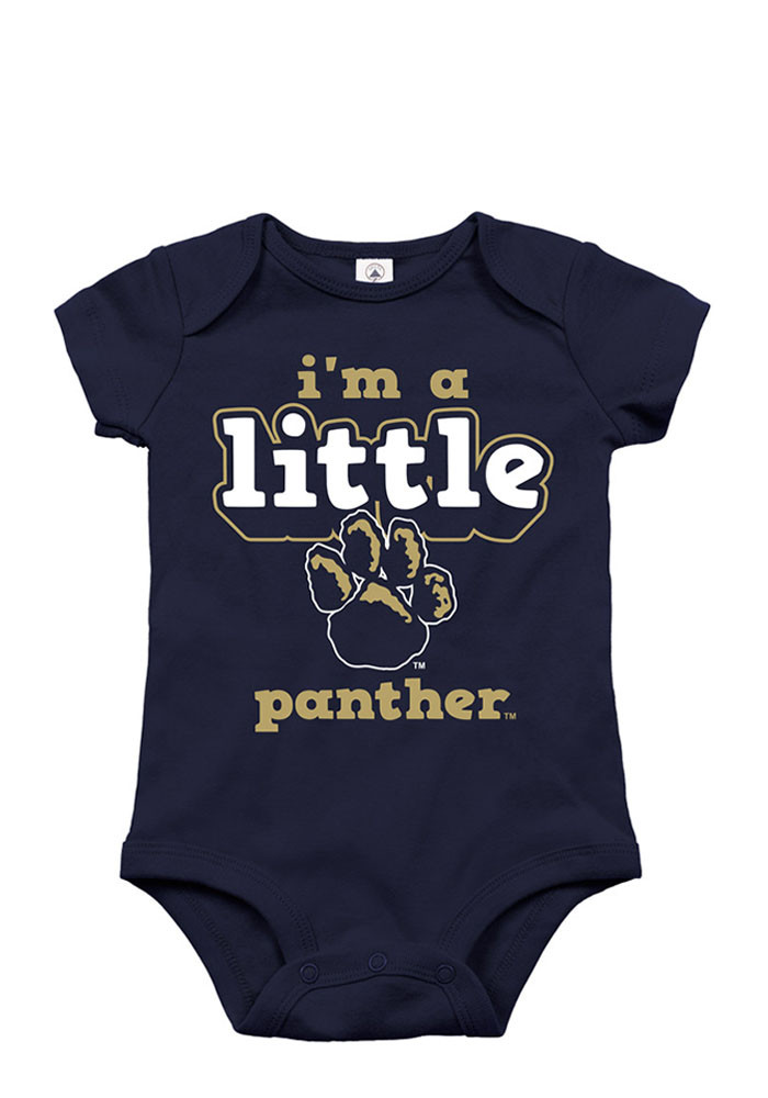 Pitt Panthers Baby Navy Blue Wonsie Minature Short Sleeve Creeper - Image 1
