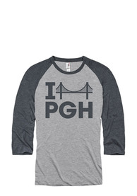 Pittsburgh Grey I Bridge PGH Raglan ¾ Sleeve T Shirt