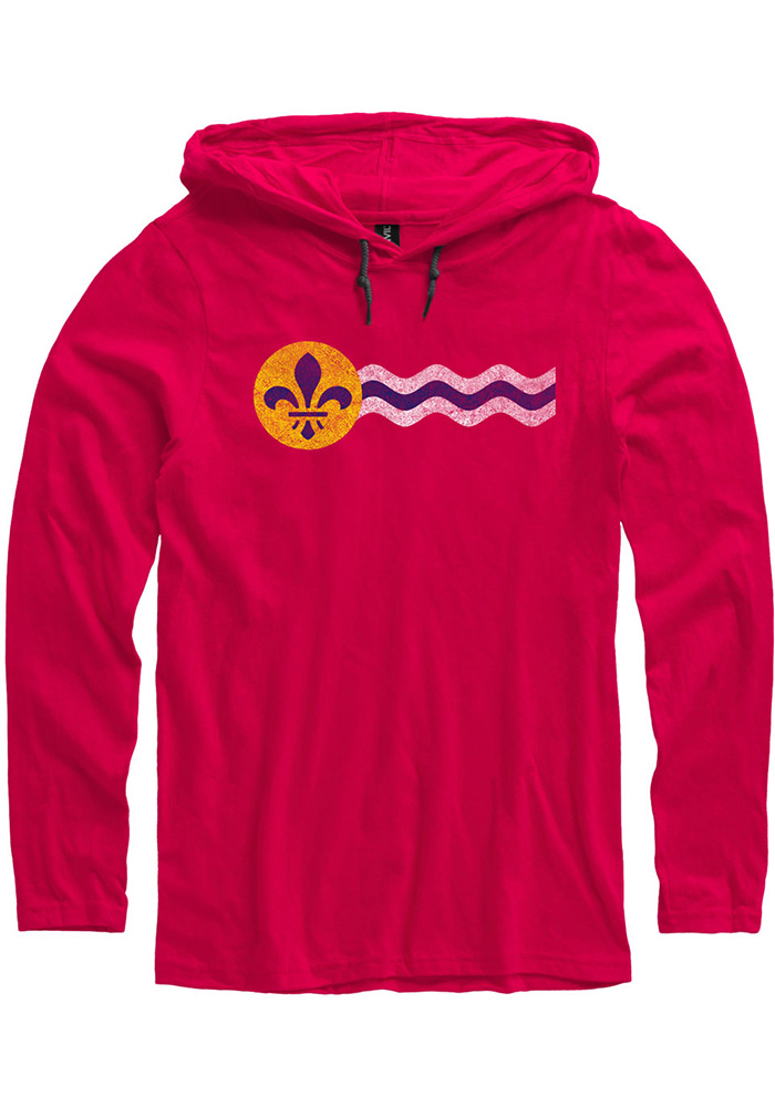 St Louis Red St. Louis Flag Long Sleeve Light Weight Hood - Image 1