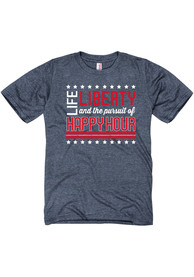 Americana Navy Blue Life, Liberty, the Pursuit of Happy Hour Short Sleeve T Shirt