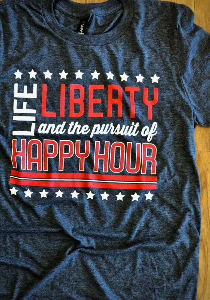 Team USA Navy Blue Life, Liberty, the Pursuit of Happy Hour Short Sleeve T Shirt - Image 2