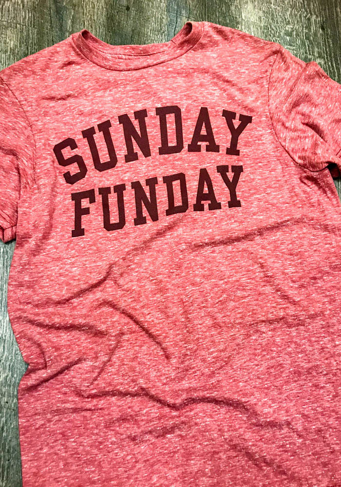 Red Sunday Funday Short Sleeve Fashion T Shirt - Image 2