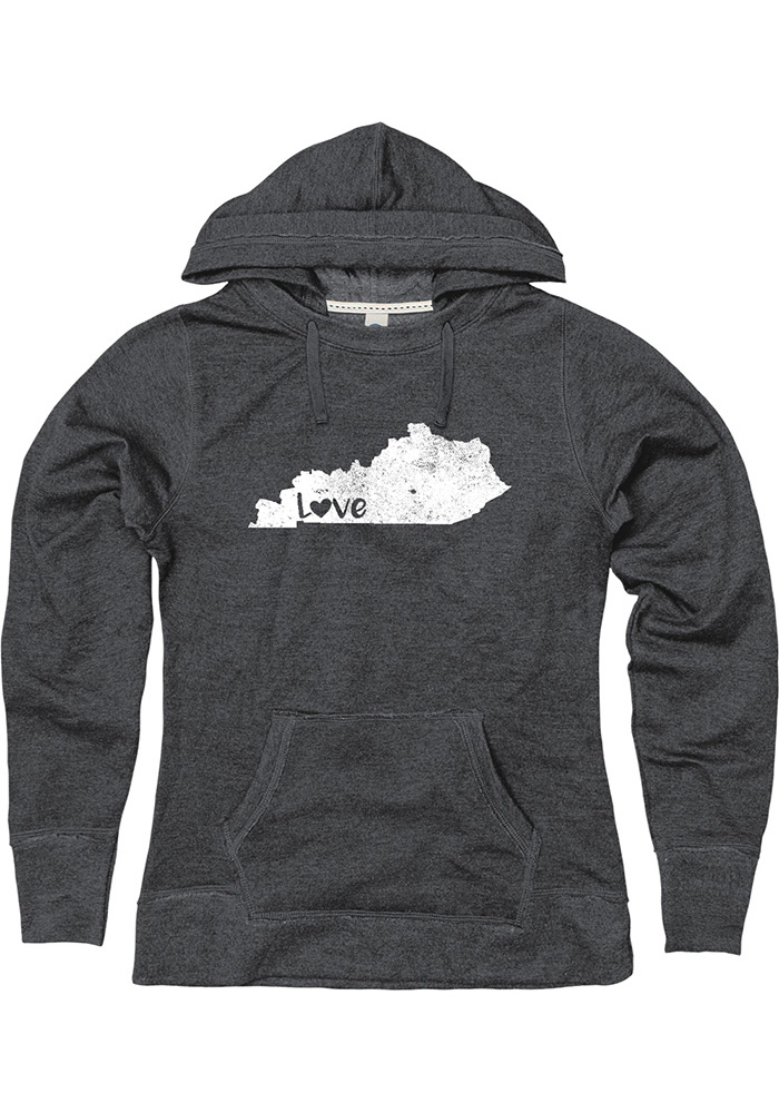 Kentucky Mens Black LOVE W/State of Kentucky Long Sleeve Hoodie - Image 1