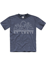 St Louis Youth Navy Blue Skyline Glow Short Sleeve T Shirt