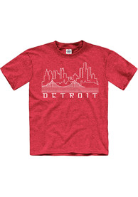 Detroit Youth Red Skyline Glow Short Sleeve T Shirt