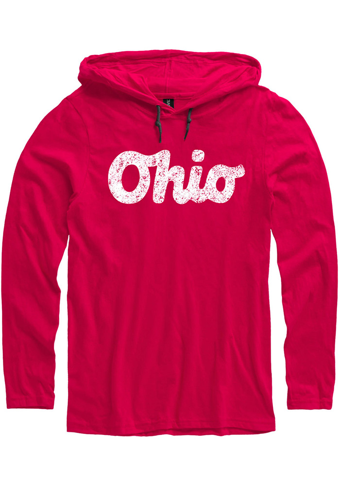 Ohio Red Script Long Sleeve Light Weight Hood - Image 1