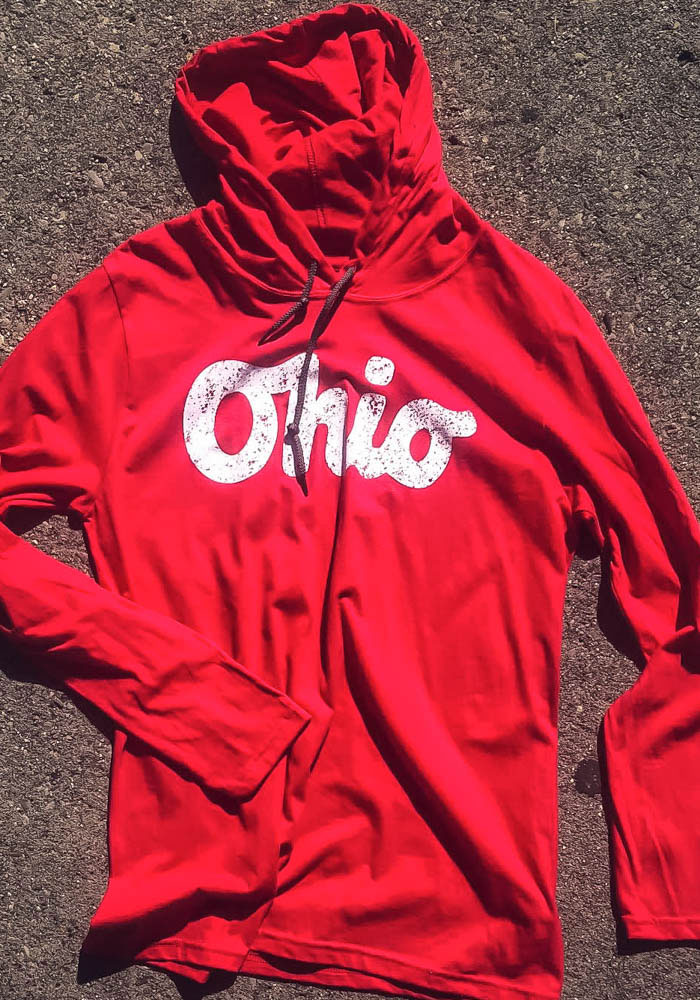 Ohio Red Script Long Sleeve Light Weight Hood - Image 2
