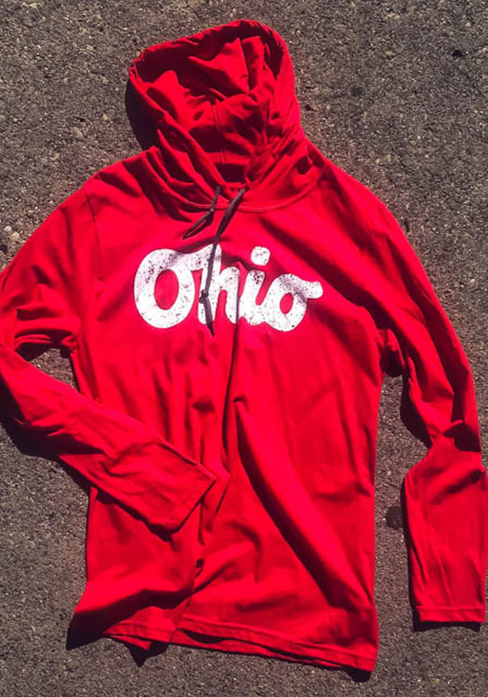 Ohio Red Script Long Sleeve Light Weight Hood - Image 3