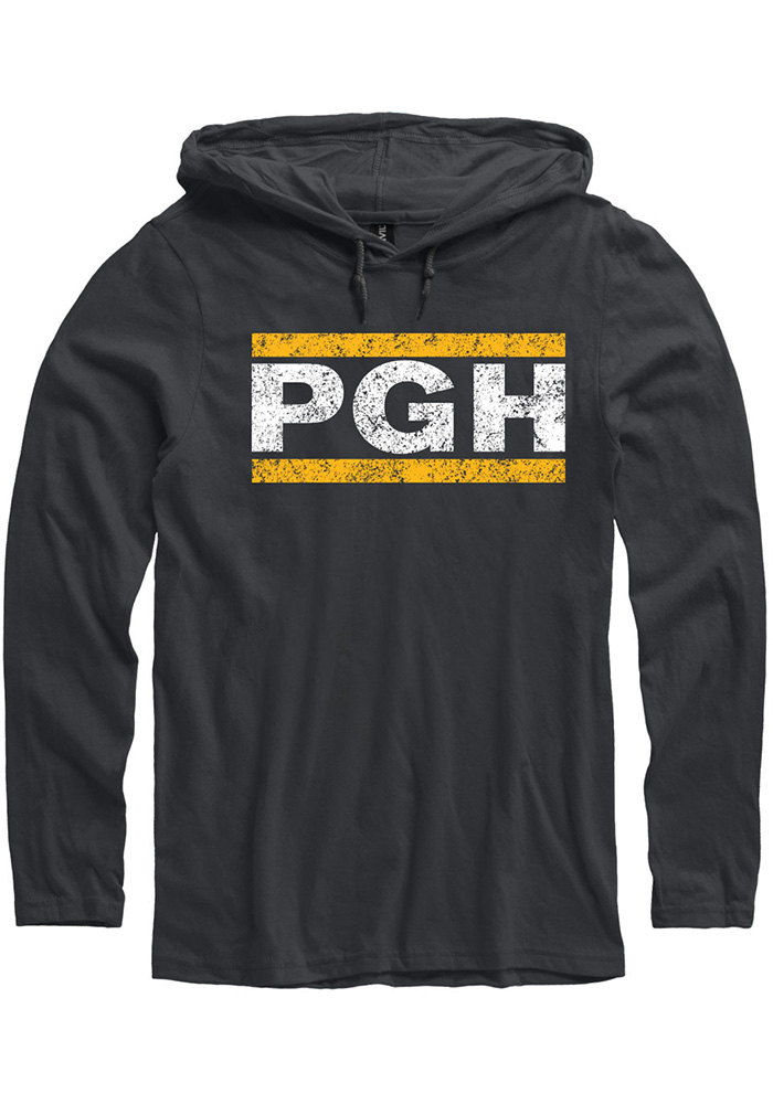 Pittsburgh Black PGH Block Long Sleeve Light Weight Hood - Image 1