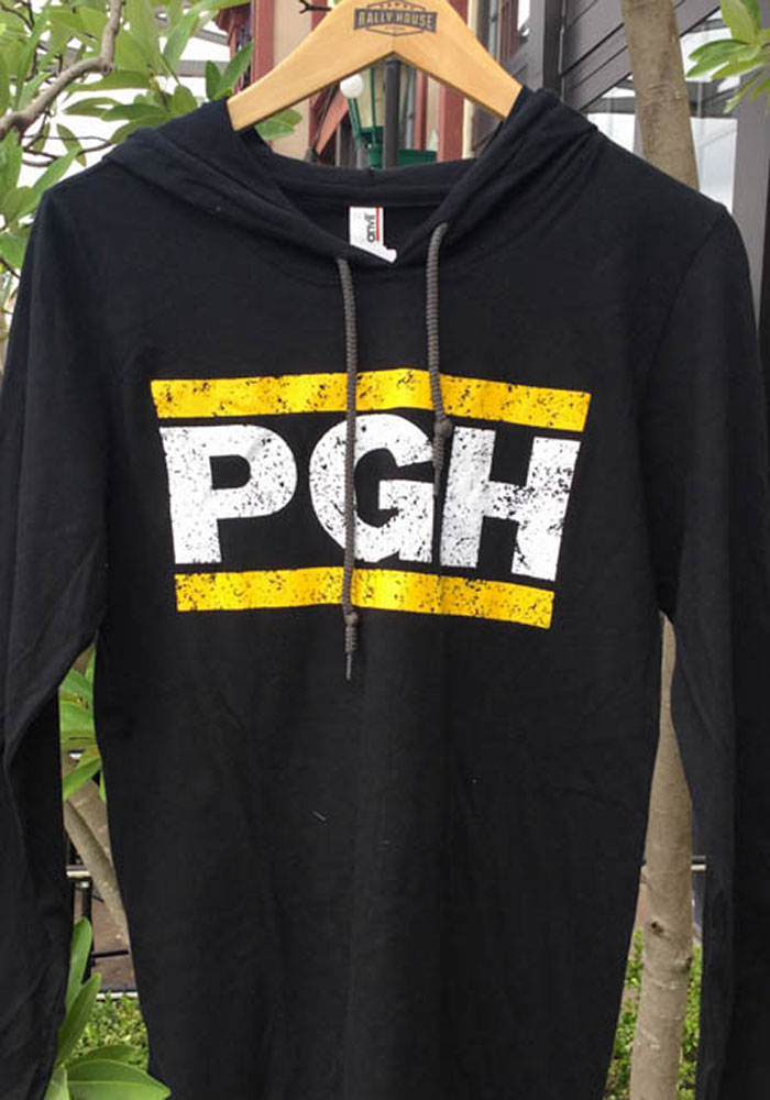 Pittsburgh Black PGH Block Long Sleeve Light Weight Hood - Image 2