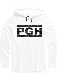 Pittsburgh White PGH Block Long Sleeve Light Weight Hood