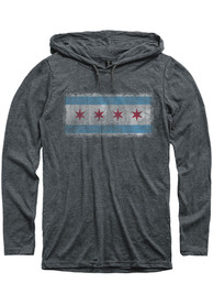 Chicago Grey City Flag Long Sleeve Light Weight Hood